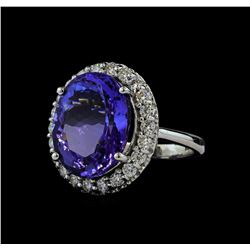 14.20 ctw Tanzanite and Diamond Ring - 14KT White Gold
