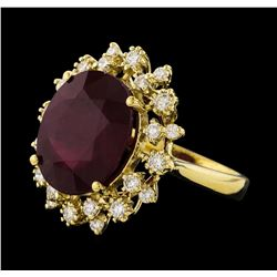 10.95 ctw Ruby and Diamond Ring - 14KT Yellow Gold
