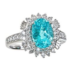 2.73 ctw Paraiba Tourmaline and Diamond Ring - 18KT White Gold