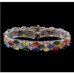 14KT White Gold 24.48 ctw Multicolor Sapphire and Diamond Bracelet
