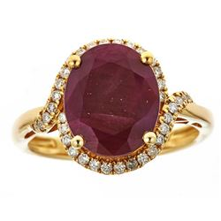 6.28 ctw Ruby and Diamond Ring - 14KT Yellow Gold