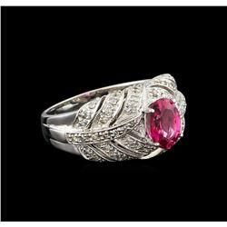 1.34 ctw Pink Tourmaline and Diamond Ring - 10KT White Gold