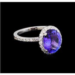 3.09 ctw Tanzanite and Diamond Ring - 14KT White Gold