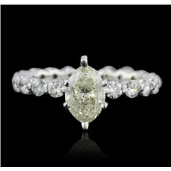 14KT White Gold 1.82 ctw Marquise Cut Diamond Ring