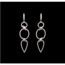 1.15 ctw Diamond Earrings - 14KT White Gold
