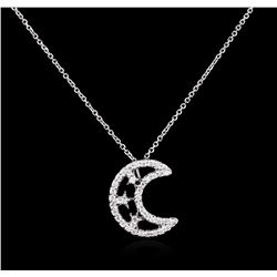 0.42 ctw Diamond Pendant With Chain - 14KT White Gold
