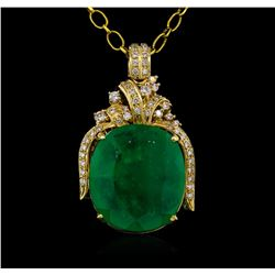 14KT Yellow Gold GIA Certified 50.88 ctw Emerald and Diamond Pendant With Chain