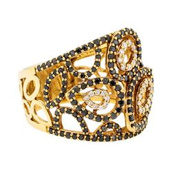 1.09 ctw Black and White Diamond Ring - 18KT Yellow Gold