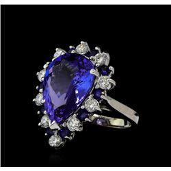 10.02 ctw Tanzanite, Blue Sapphire, and Diamond Ring - 14KT White Gold