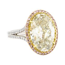 8.04 ctw Center Diamond Ring - Platinum and 18KT Rose Gold