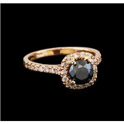 1.38 ctw Black Diamond Ring - 14KT Rose Gold