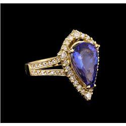 3.75 ctw Tanzanite and Diamond Ring - 14KT Yellow Gold