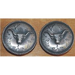 silver steer head conchos