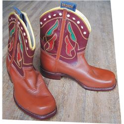unworn pair of inlaid Bronco kids boots