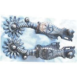 Garcia, Elko dandy pattern silver inlaid spurs