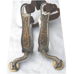 Mexican eagle head Alpaca silver spurs