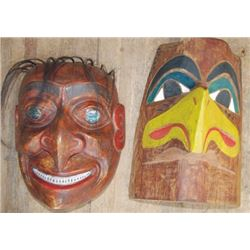 2 Northwest carved wooden Indian masks