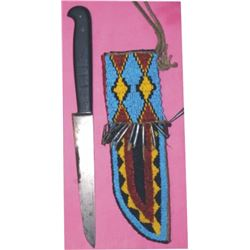 Blackfoot beaded scabbard and trade knife
