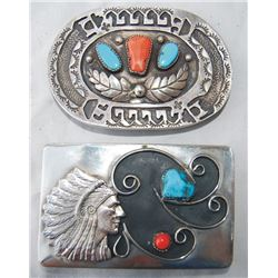 2 Navajo silver, turquoise and coral belt buckles