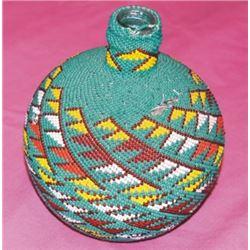 Warm Springs Indian beaded bottle