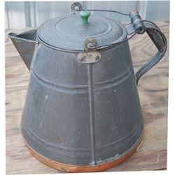 large copper bottom grey enamel cowboy coffee pot