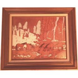framed tooled leather horse scene picture