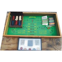 gambler's set;  small Nevada dice table, box of clay poker chips