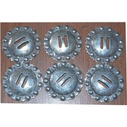 "set of six 2"" Visalia slotted silver conchos"