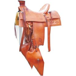 WML Huston buckaroo saddle, new condition, w/silver horn cap, cantle plate