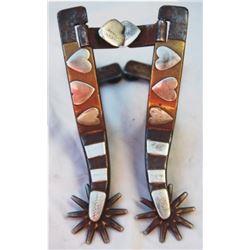 Kelly Bros heart pattern silver, brass & copper mounted spurs