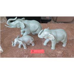 3 Glazed Ceramic Elephants, Varying Size