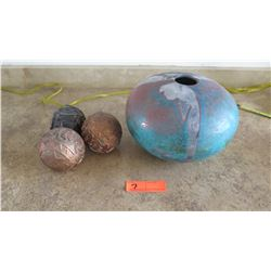 "Glazed Ceramic Round Vase (Approx 8"" X 8"") & 3 Decorative Balls"
