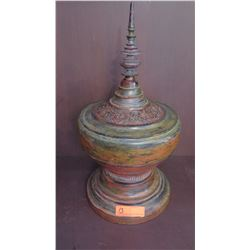 Painted Carved Architectural Lidded Bowl