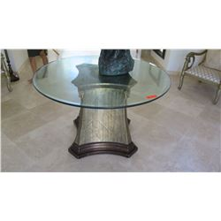 "Round Glass Top Table on Wooden Painted Faux Marble Pedestal, Approx 4' Dia. Glass, 30"" H"