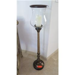 "Standing Candle Holder with Hurricane Glass Globe, Approx. 44"" Tall"
