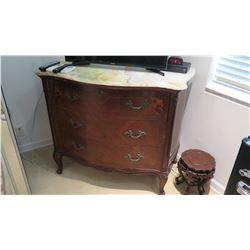 Antique 3-Drawer Marble-Top Serpentine Chest