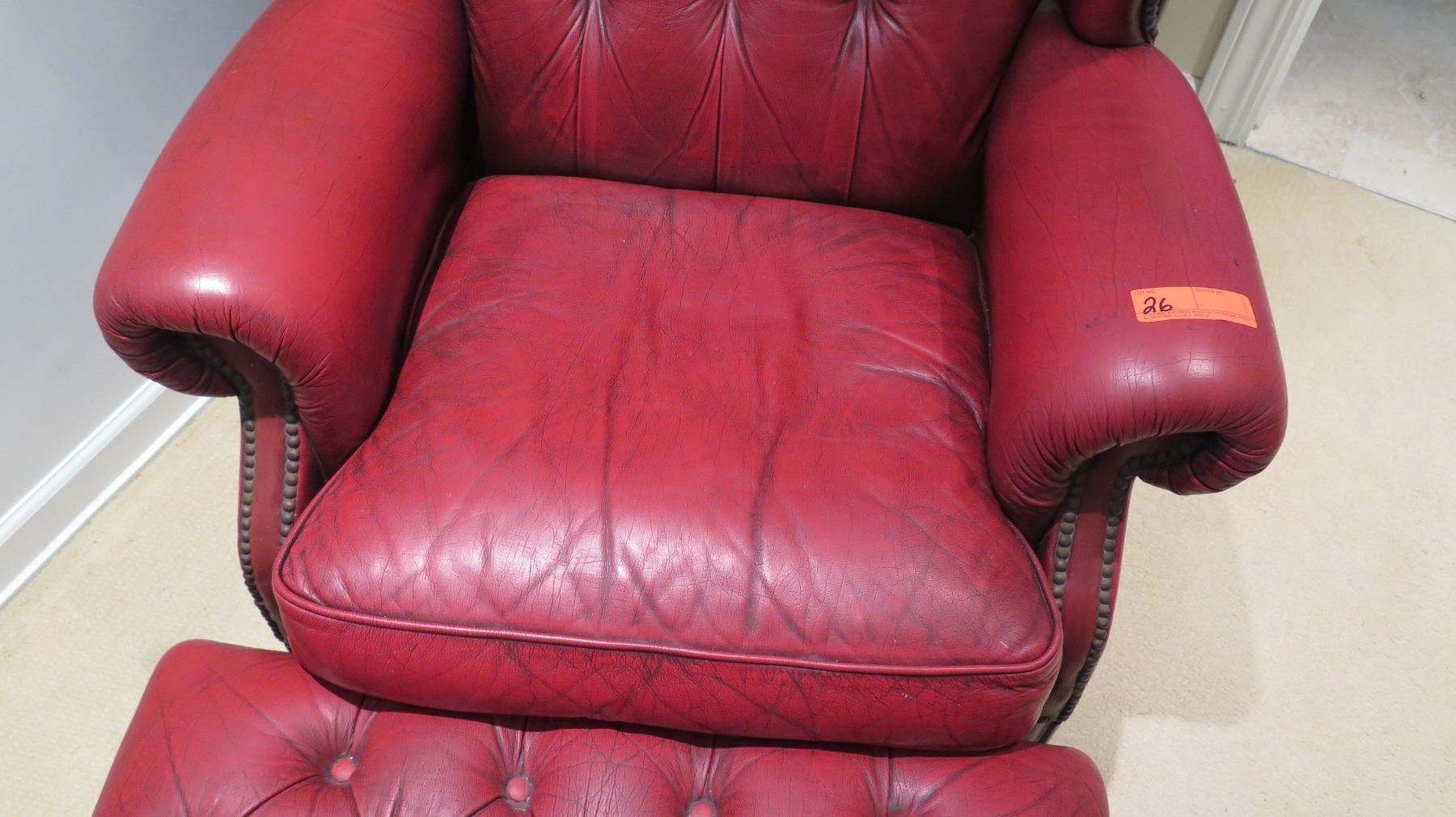 Tufted Red Leather Armchair & Ottoman - Oahu Auctions