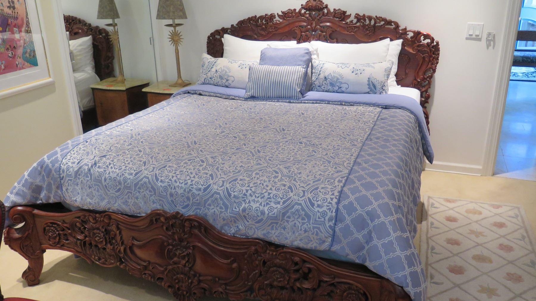 King Size Ornate Carved Wooden Bed Sheets Comforter Pillows Not