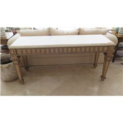 Carved Wooden Console Table w/Natural Stone Top