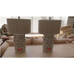 "Pair: Ceramic Flower Cut-Out Table Lamps, Cream Color, Approx. 30"" H"