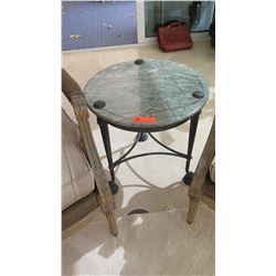 "Round Accent Table, Green Natural Stone Top, Bronze? Approx 22"" Dia."