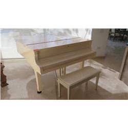 Young Chang Baby Grand Piano w/ Bench, White, Some Fading