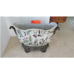 Painted Glazed Ceramic Bowl w/Metal Base & Handles