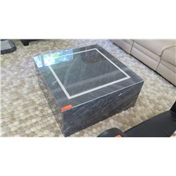 Square Marble Coffee Table w/Glass Top, Approx 3.5' x 3.5 ' x 17""