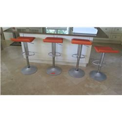 Qty 4 Orange Minimalist Bar Stools w/Chrome Base
