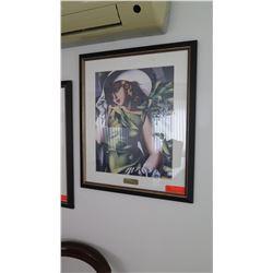 """Framed Art """"Jeune Fille Vert"""" by De Lempicka, 26.5"""" X 23.5"""""""