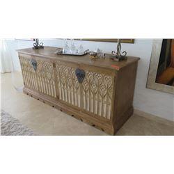 Hardwood Buffet w/ Intaglio Carved Doors & Hardware Detail