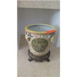 """Glazed Ceramic Pot, Approx. 10"""" wide"""