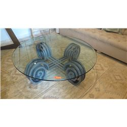 Glass-Topped Iron Coffee Table