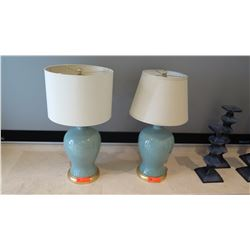"""Pair: Blue Ceramic Table Lamps w/ Mismatched Shades, 27.5"""" H"""